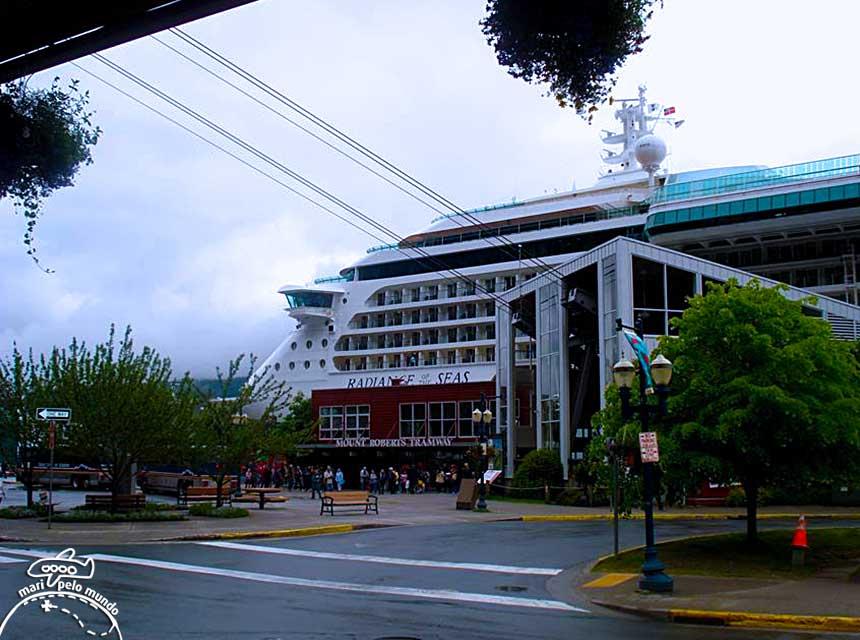 o navio atraca bem próximo à avenida - parece um prédio Foto: Maria Lucia