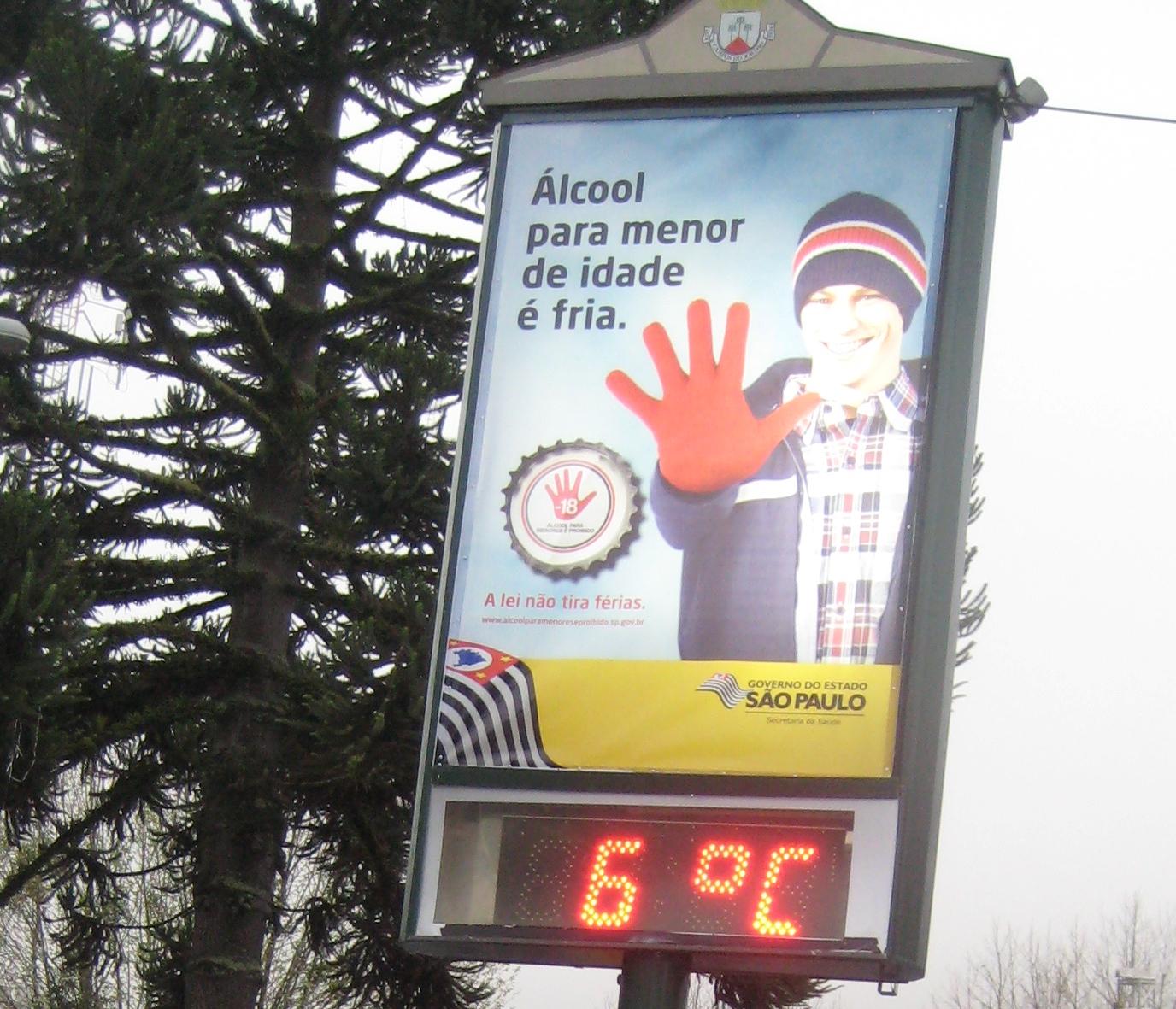 Inverno em Campos - termometro ao meio dia