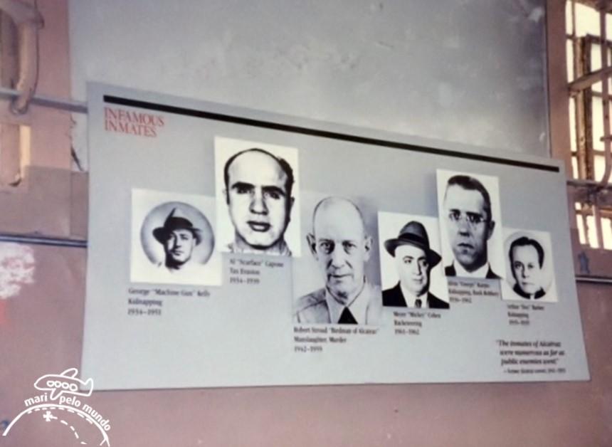 Roteiro em São Francisco - Interior de Alcatraz com alguns de seus presos famosos