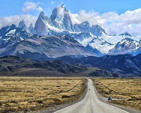 Estrada entre El Calafate e El Chalten